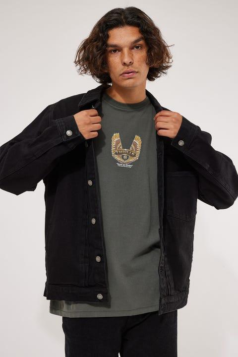 Thrills Ryder Oversized Denim Jacket Black