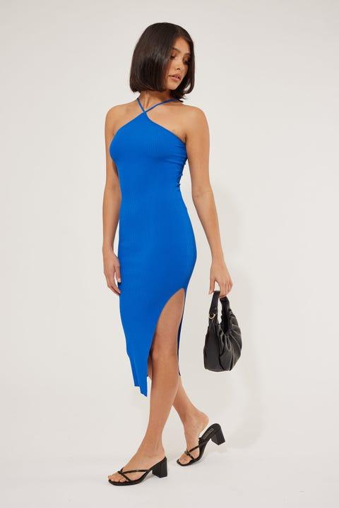 Perfect Stranger Florida Knit Midi Cobalt Blue