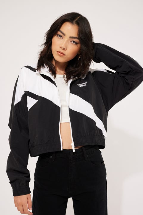 Reebok Cropped Vector Jacket Black/White/White