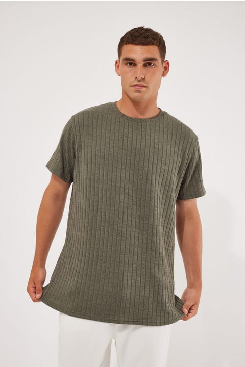 Common Need Ribbed Tee Olive Green