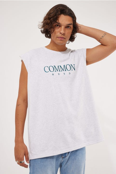 Common Need Loopback Cut Off Muscle Tank Snow Marle