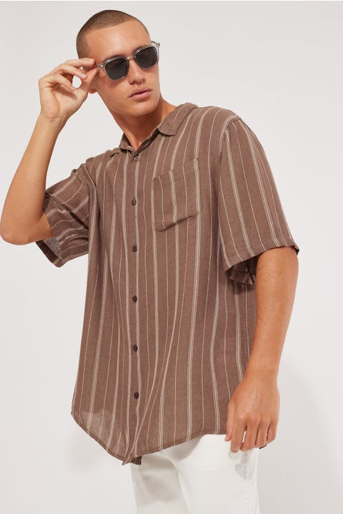 Common Need Herringbone Party Shirt Chocolate Brown