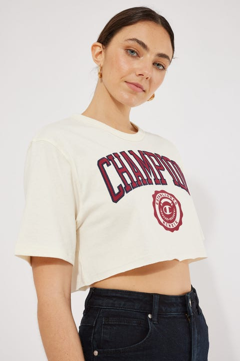 Champion Heritage Archive Cropped Tee Chalk White