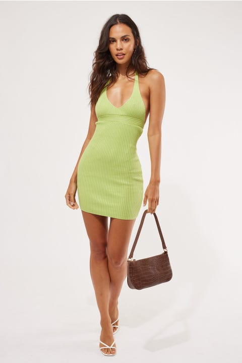 Perfect Stranger Tropical Halter Mini Dress Green