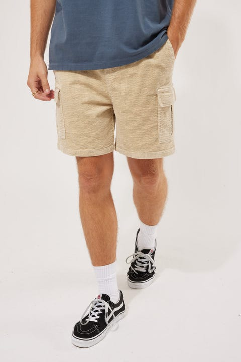 Common Need Relaxed Cord Cargo Short Ecru