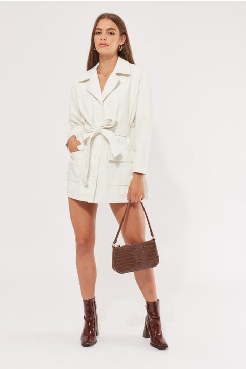 Perfect Stranger Belted PU Jacket Off White