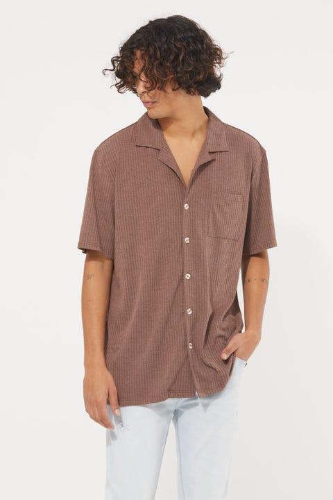 Common Need Studio Resort Collar Knit Shirt Brown