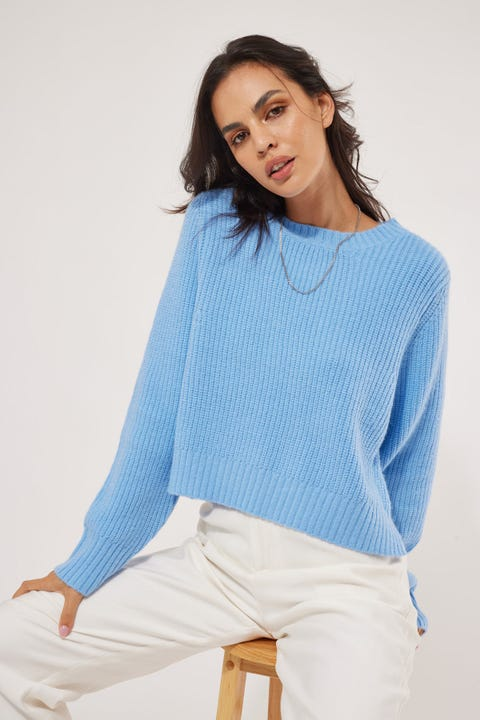 Perfect Stranger Luna Crew Knit Blue