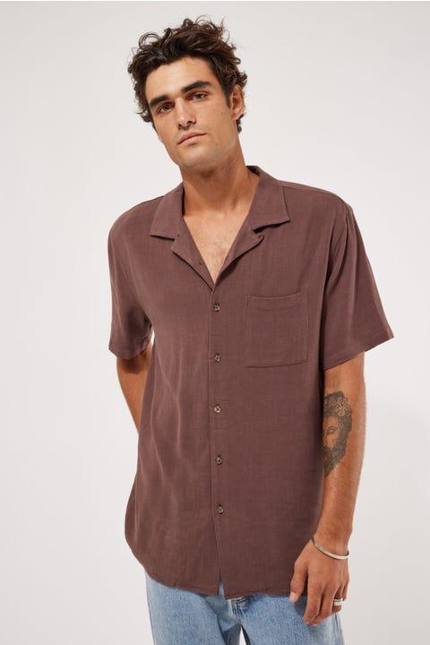 Common Need Truth Resort Collar Shirt Chocolate Brown