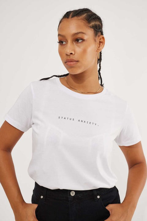 Status Anxiety Think It Over Tee White