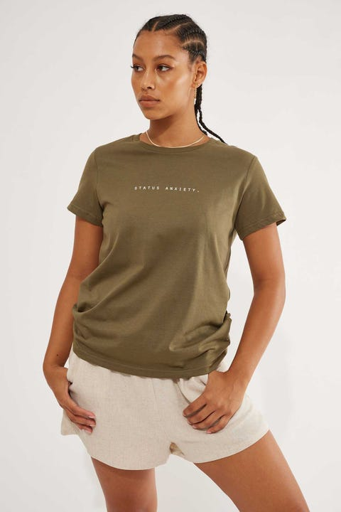 Status Anxiety Think It Over Tee Army Green