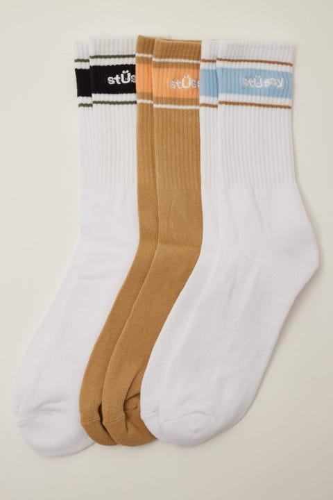 Stussy Sport Sock 3 Pack White/Mustard/White