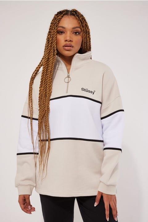 Stussy Harbour Panelled OS 1/4 Zip White Sand