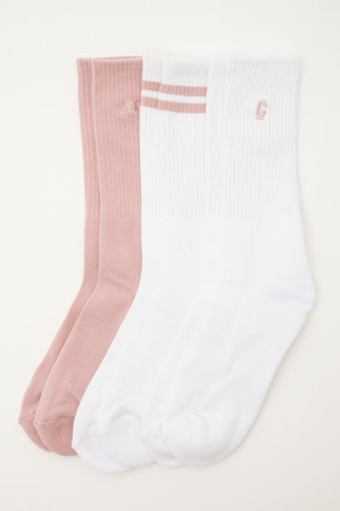 Common Need Classics Sock 3 Pack White/Washed Orchid