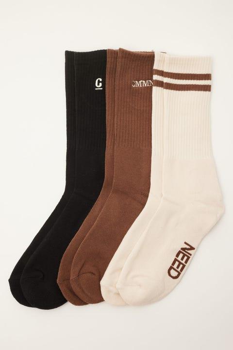 Common Need Classics Sock 3 Pack Black/Natural/Mocha
