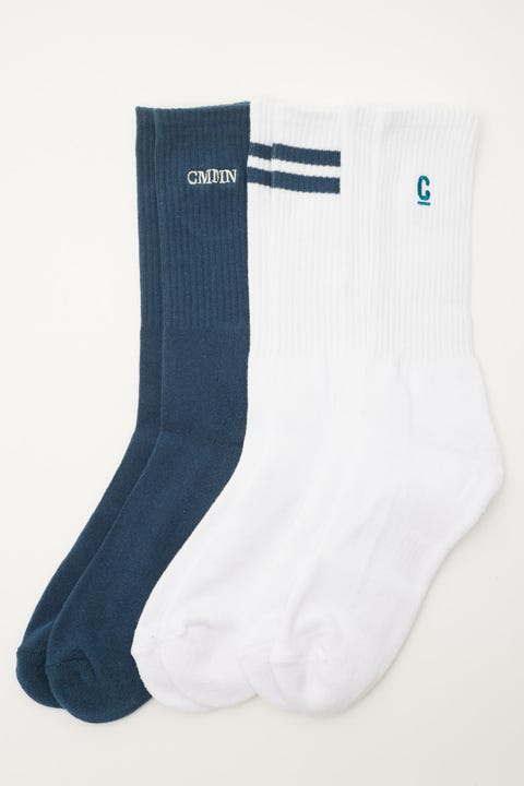 Common Need Classics Sock 3 Pack White/Teal