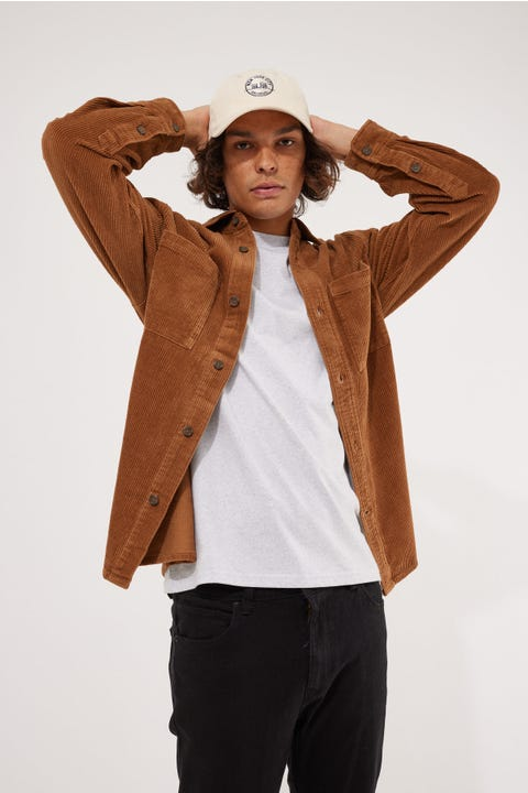 Common Need Bowie Cord Overshirt Brown