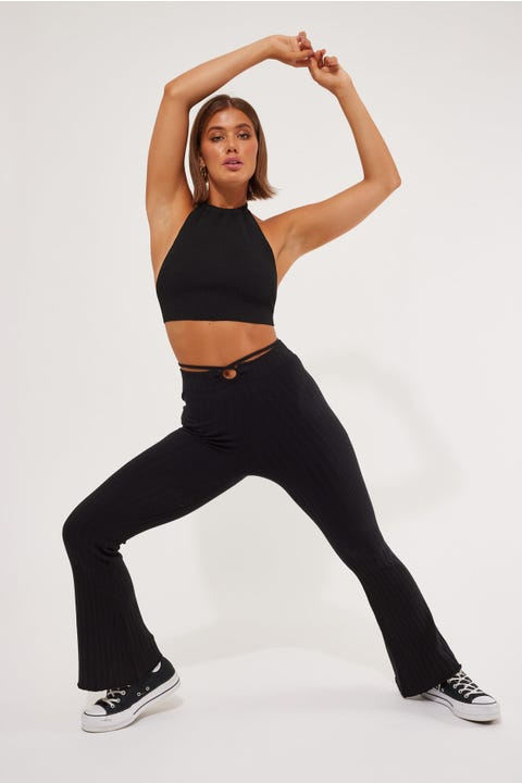 Luck & Trouble Strappy Waist Flare Black