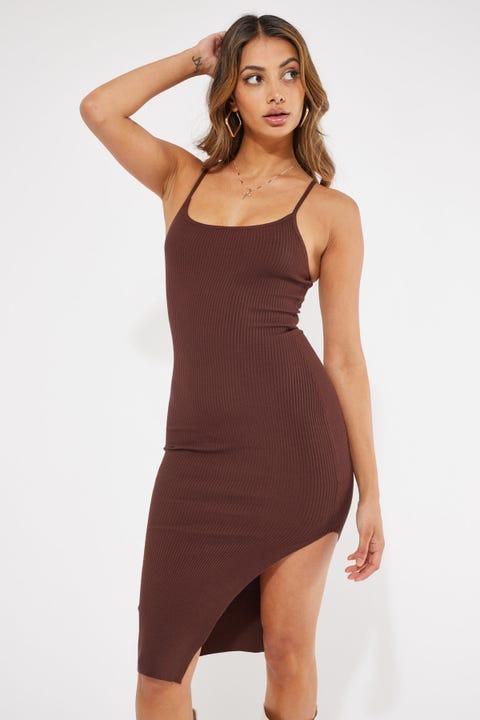 Perfect Stranger Los Cabos Knit Midi Dress Brown