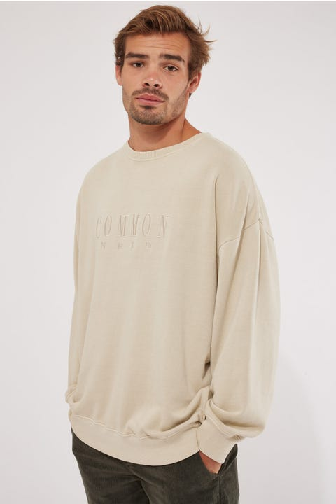 Common Need Sense Boxy Crew Washed Stone