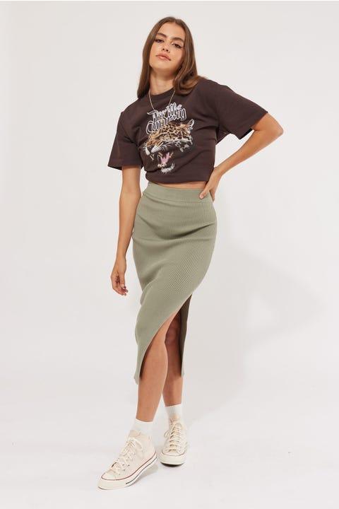 Perfect Stranger Hamilton Knit Midi Skirt Khaki