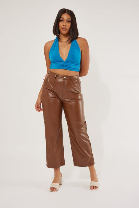 Perfect Stranger Over Now Faux Leather Pant Brown