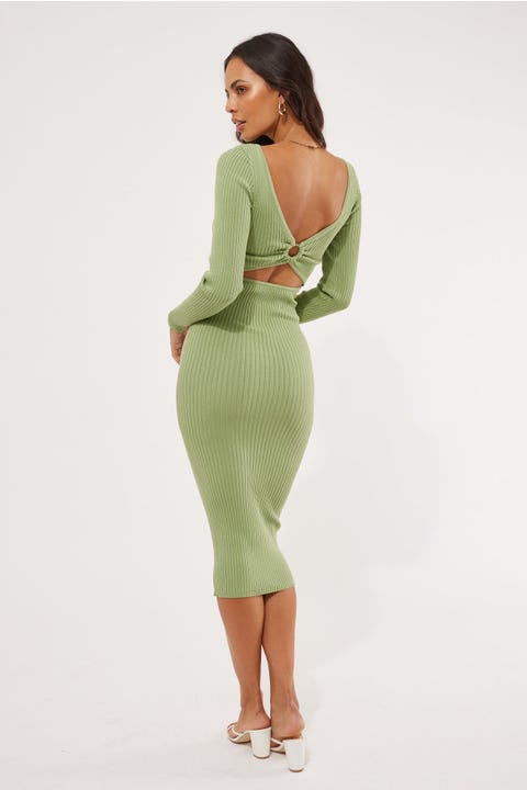 Perfect Stranger Kaye O-Ring Knit Midi Dress Green