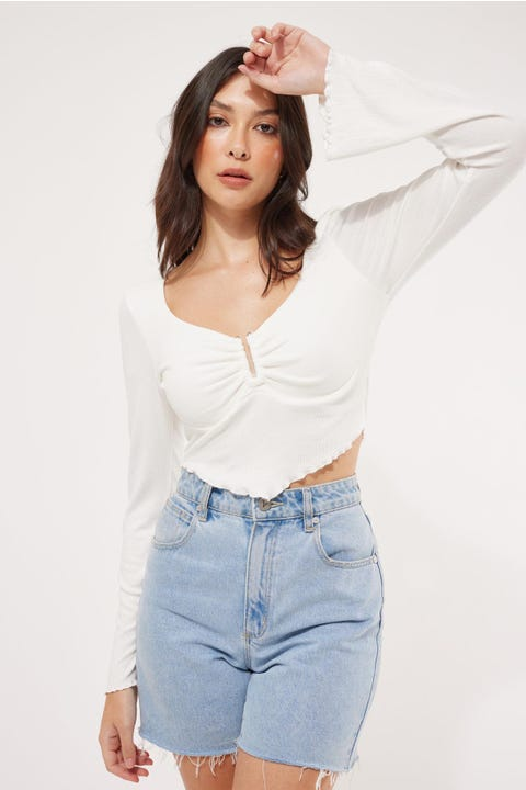 Luck & Trouble Ivory Long Sleeve Top White