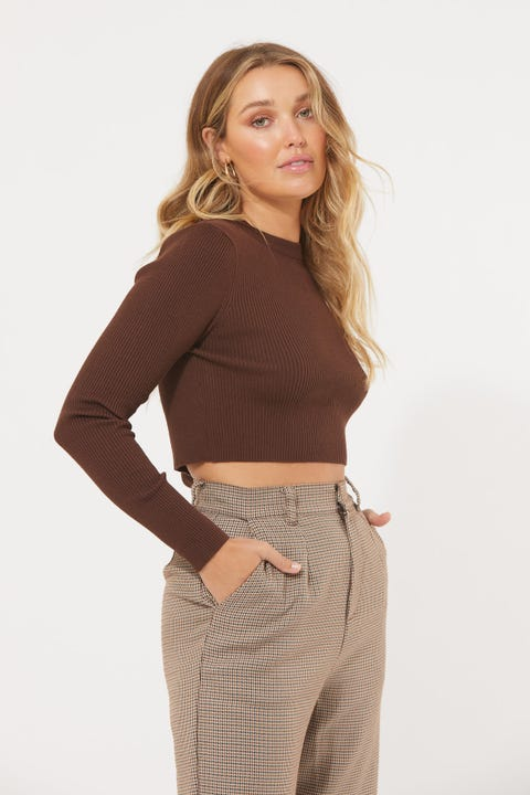 Perfect Stranger Kaila Knit Top Brown