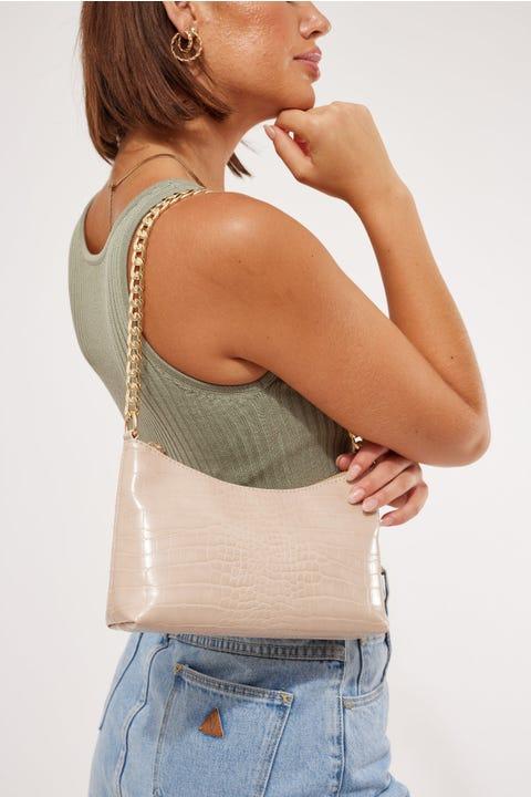 Token Croc Chain Shoulder Bag Nude