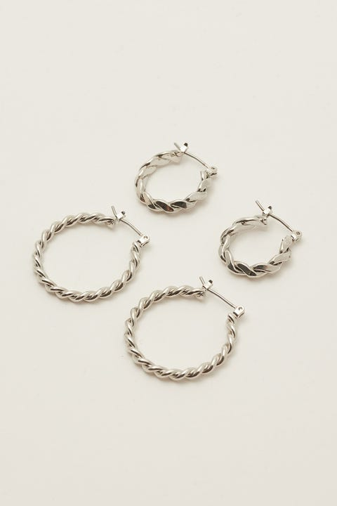 Token Twist Hoop Earring Pack Silver