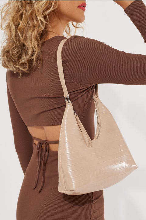 Token Riviera Croc Shoulder Bag Taupe