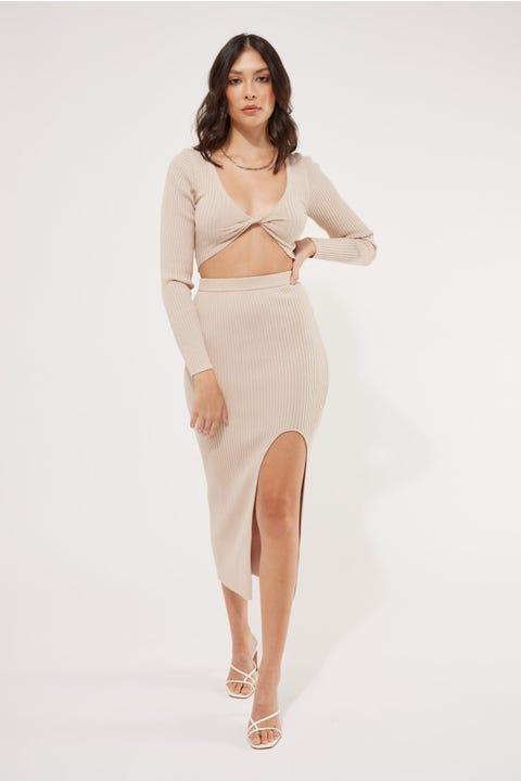 Perfect Stranger Bordeaux Knit Midi Skirt Taupe