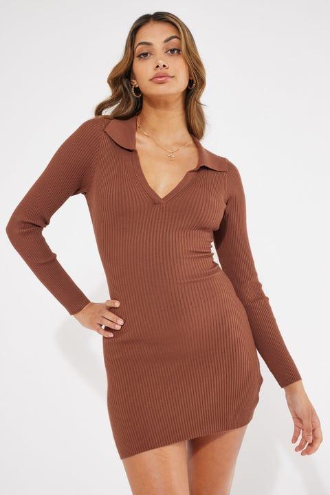 Perfect Stranger Collared Knit Mini Dress Brown