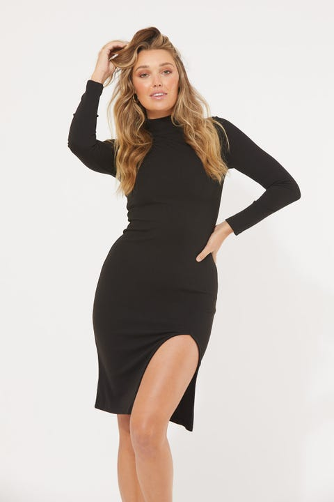 Luck & Trouble Mock Neck Midi Dress Black