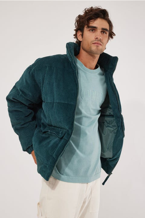 Common Need Everest Cord Puffer Jacket Teal