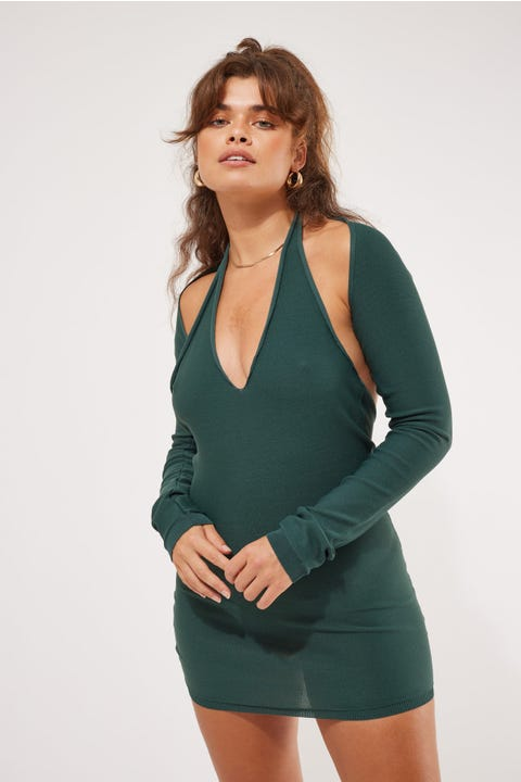 Lioness Heavenly Sent Mini Dress Forest Green