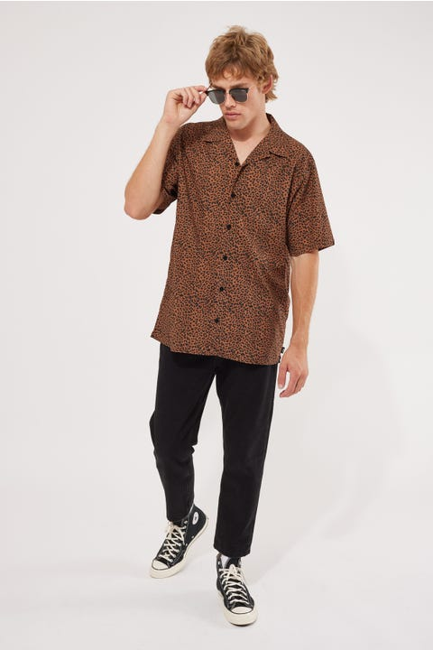 Thrills Panthera Bowling Shirt Mustang Brown