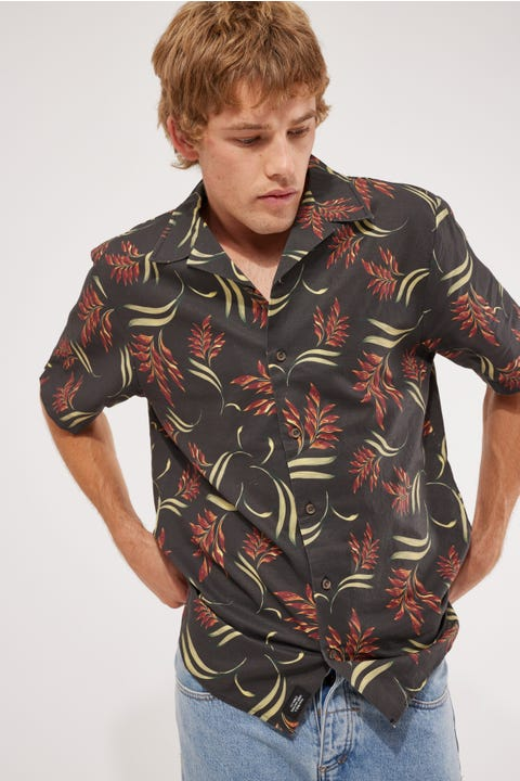 Thrills Tropical Solitude Bowling Shirt Black