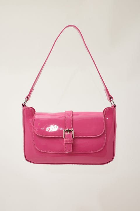 Token Patent Buckle Bag Hot Pink