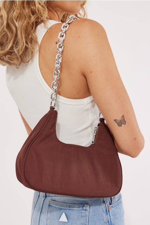 Token Nylon Chain Shoulder Bag Brown