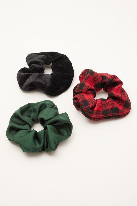 Token Scrunchie 3 Pack Red Check/Black Velvet/Green Satin