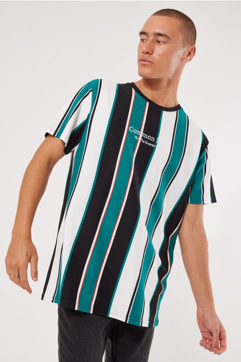 Common Need Naples Vertical Stripe Tee Teal/White/Black Stripe