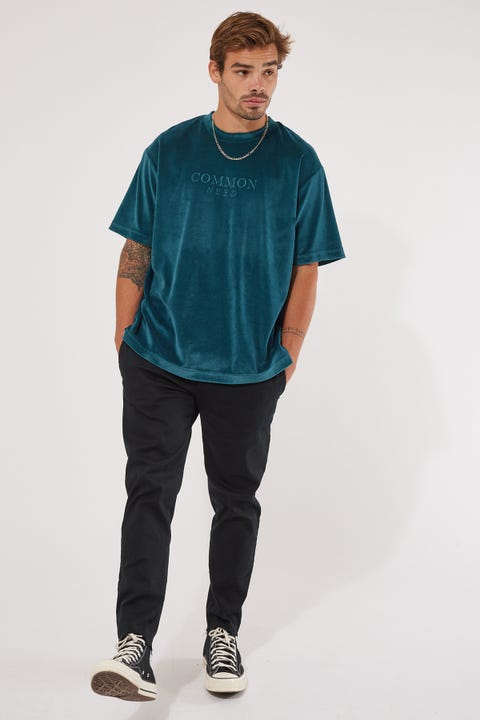 Common Need Velour Boxy Tee Teal