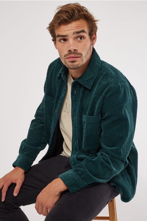 Common Need Camden Cord Overshirt Teal