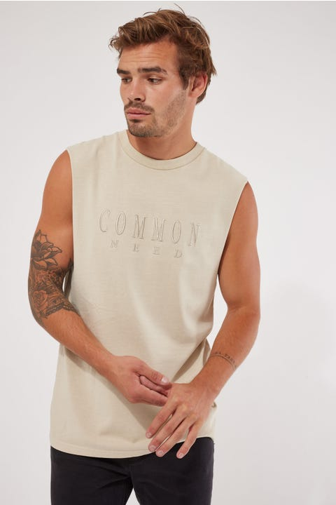 Common Need Sense Muscle Tank Washed Stone