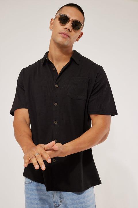 Common Need Waffle Standard Shirt Black