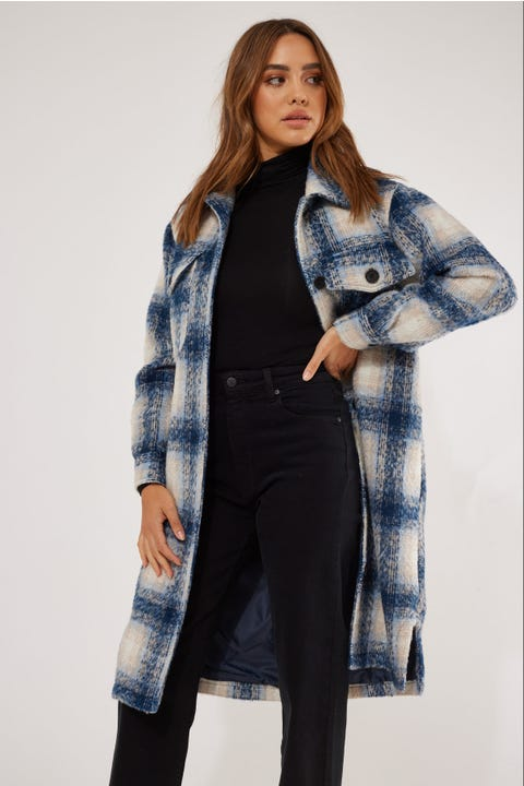 Luck & Trouble Longline Check Overshirt Blue Check