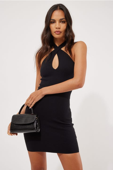 Perfect Stranger Crossover Halter Dress Black