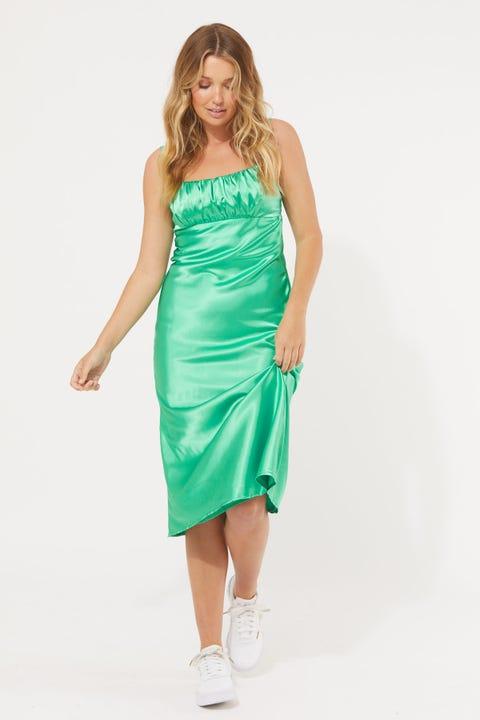 Perfect Stranger River Satin Midi Dress Biscay Green